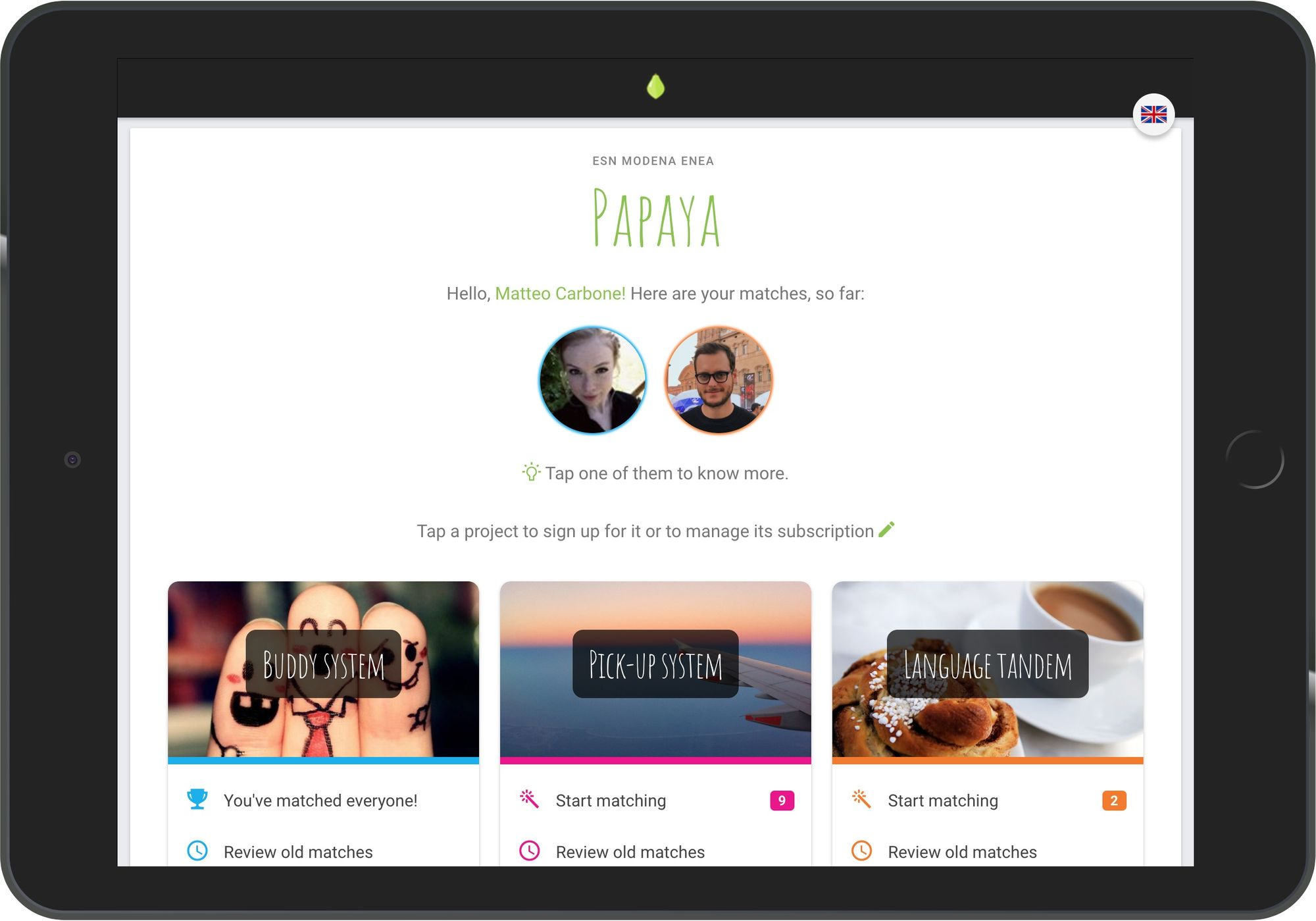 The new UI of Papaya