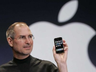 Steve Jobs presenting the firstiPhone